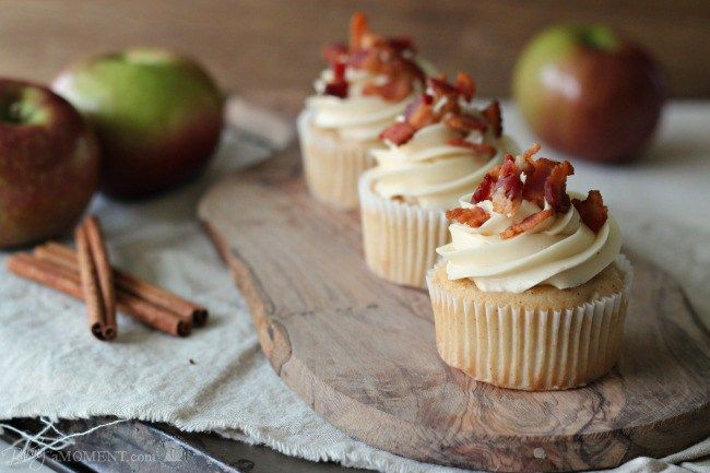 Apple Pancake Cupcakes with Maple Buttercream and Bacon