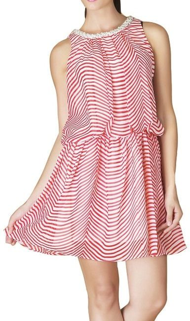 Stunning Striped Dress ~ has pearl accents on collar & cascading ruffles in the back ♥ L.O.V.E.