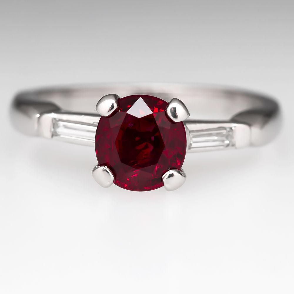 carat round ruby engagement ring diamond accents platinum ruby