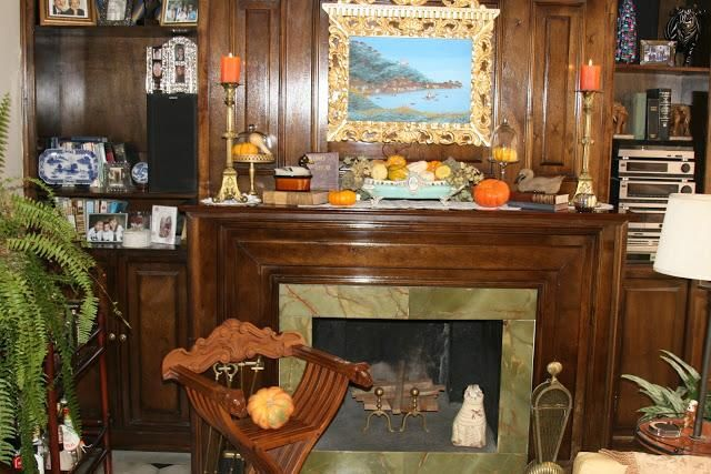 Halloween decorations IDEAS  INSPIRATIONS Autumn Mantel in the Den - cheap halloween decor ideas