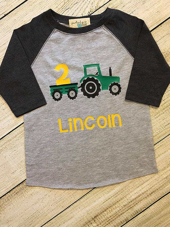 6b7c601d Tractor Birthday Raglan OR T-Shirt | Choose number|Red or Green Tractor |  boy | 1 | 2 | 3 | 4 | 5