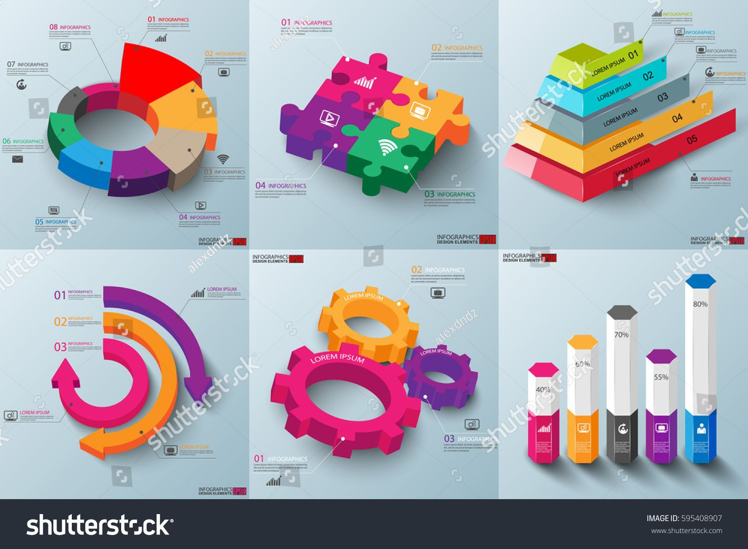 Set Of 3d Paper Infographic Elements Data Visualization Vector Pyramid Diagram Template Design Business Concept Steps Or Processes Workflow Hexagon Box