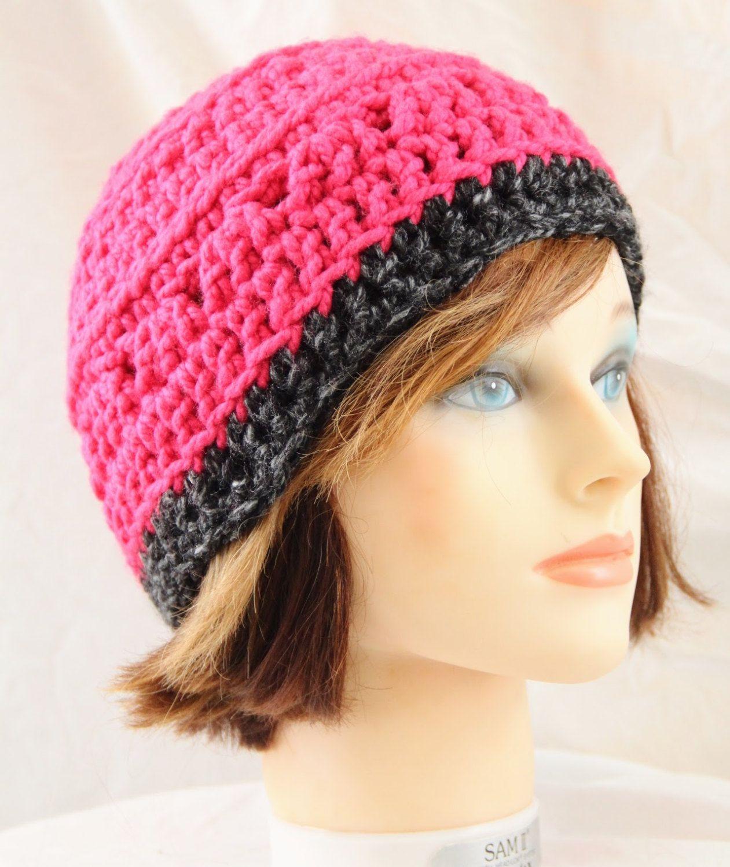 ba15380600766 Bright Pink Crochet Beanie   Soft Crochet Winter Hat   Breast Cancer  Awareness   Warm Hot Pink and Gray Beanie   Pink Skullcap   Women s Hat by  ...