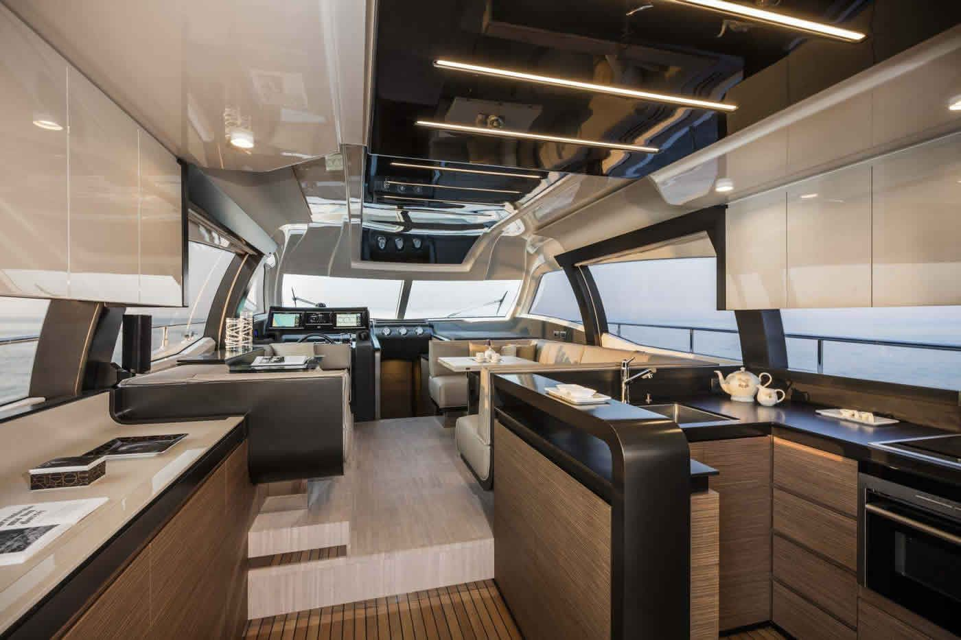 #Yachting #Interiors #Design: experience the style and elegance of the #MadeInItaly penned by the #FerrettiGroup designers. Interiors Ferretti Yachts 550 New, main deck.