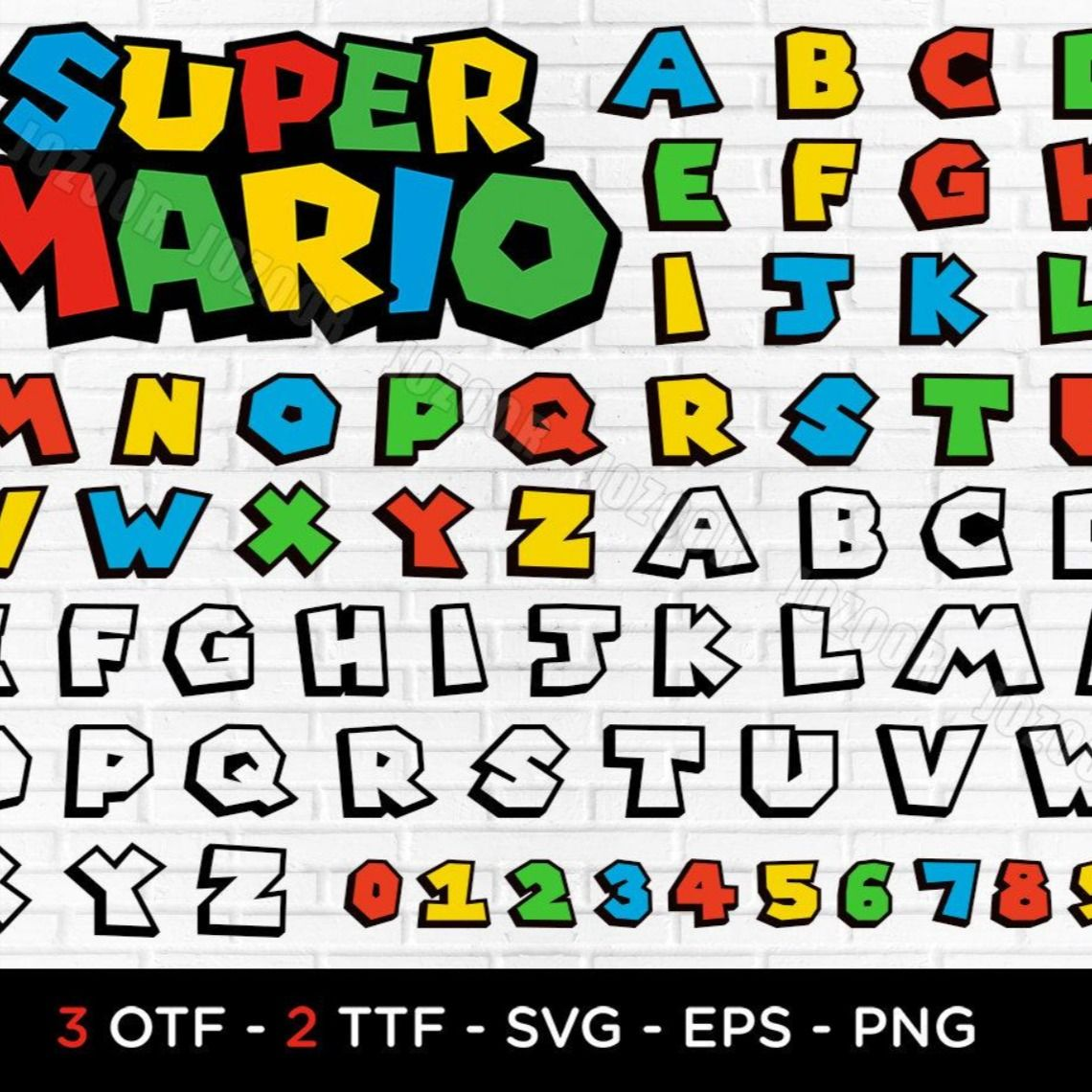 Super Mario Font Mario Font Letters Svg Dxf Png Eps For Cricut Silhouette Printing Super Mario Font Opentype Svg Installable Otf Font In 2021 Super Mario Coloring Pages Super Mario Super Mario Free