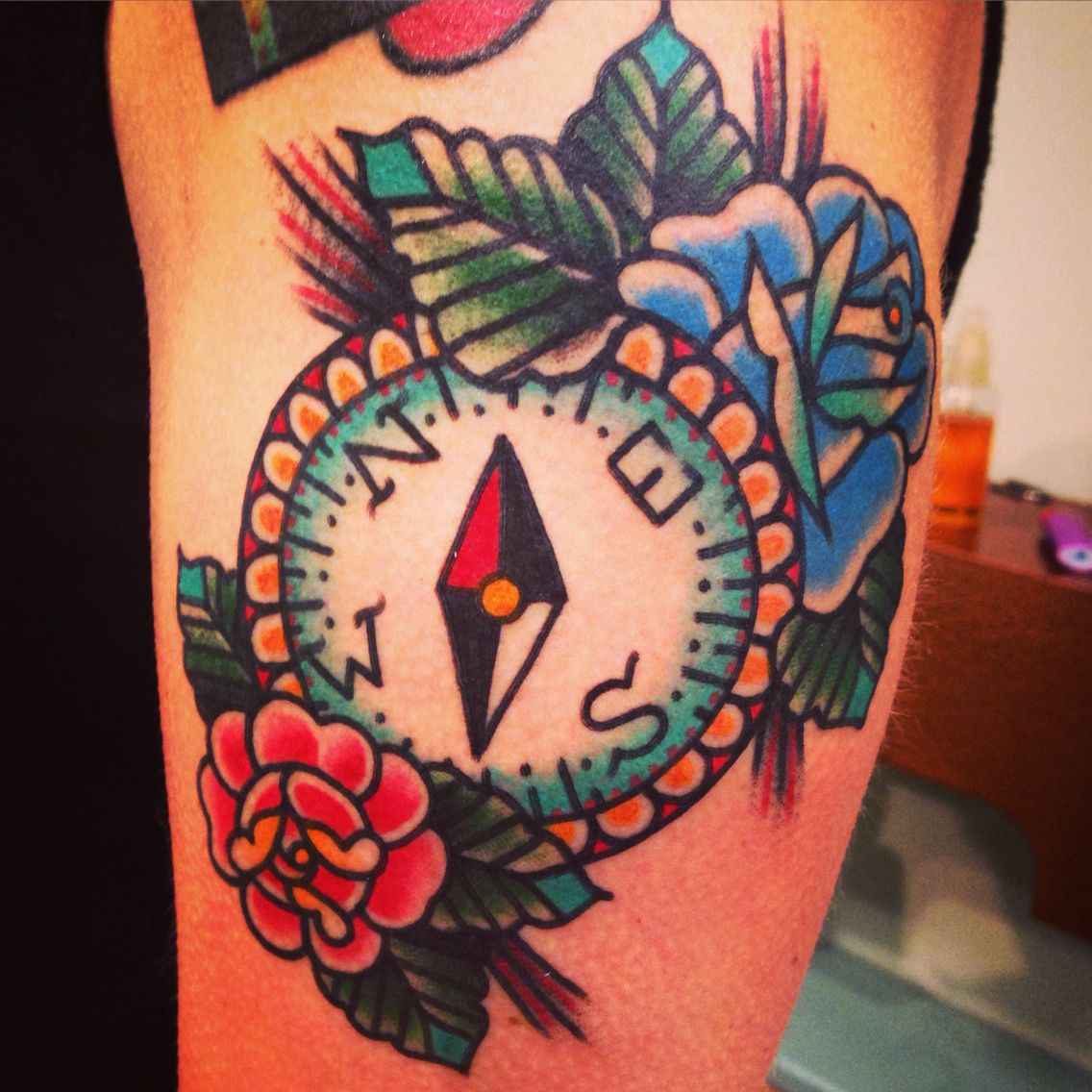 Compass tattoo done American traditional style ️ | Tattoos ...