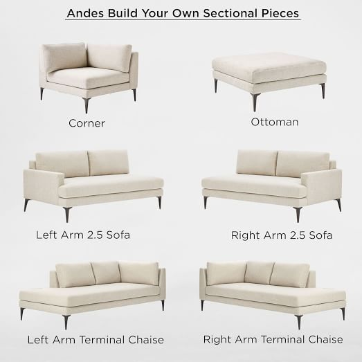 Build Your Own Andes Sectional Pieces Corner Sofa Design