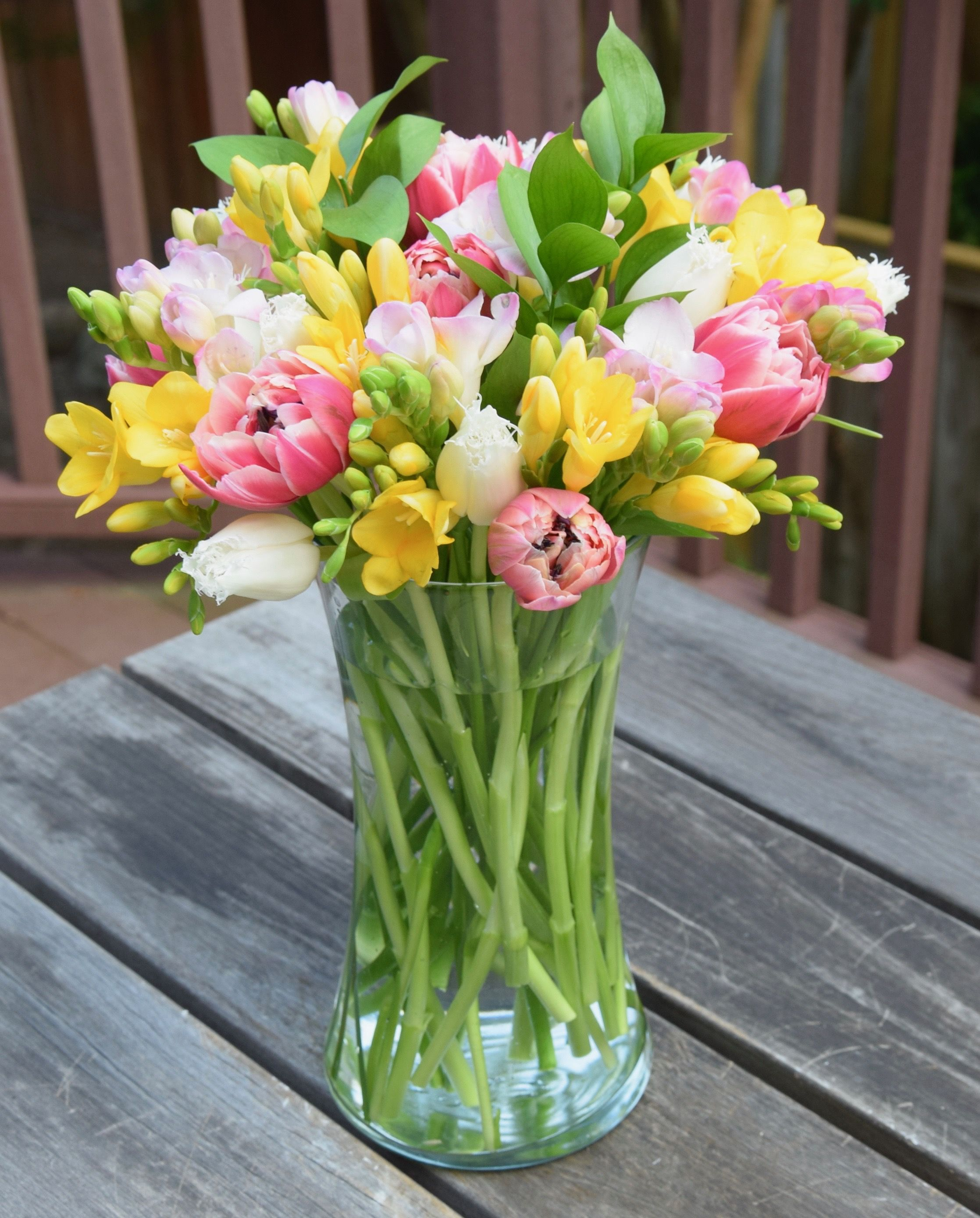 Tulips And Freesias Flower Arrangement Fresh Flowers Arrangements Freesia Flowers Flower Arrangements