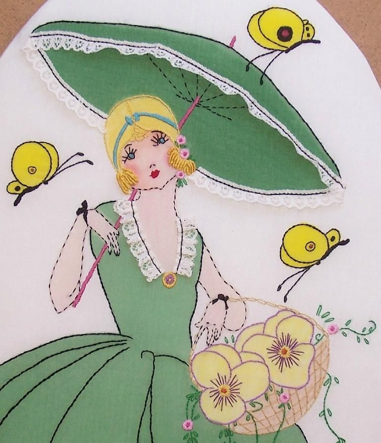 Ink tinted and embroidered design from Boudoir Girls book of designs