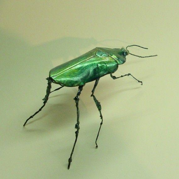 the emerald tree beetle by thefocarinostudio on Etsy