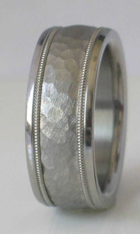 Custom Made Tungsten And Anium Hammered Wedding Band With Milgrain Design Available In Mens Womens