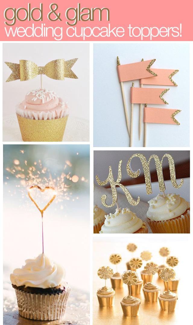 Elegant Wedding Cupcakes Toppers Decorations Gold Diy Wedding