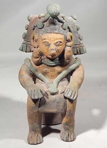 Ecuador Precolombino, Jamacoaque Sentado Shaman Effigy Figura