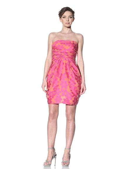 Brocade Dress with Pleated Bodice
