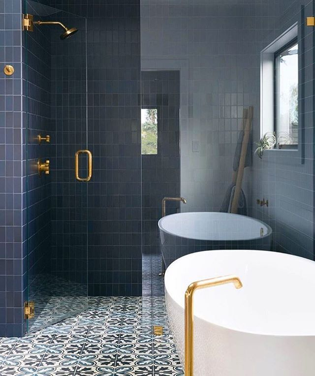 This Rich Navy Tile Is Calling To Me Design Reganbakerdesign Bathroom Design Bathroom Design Small Small Bathroom Design
