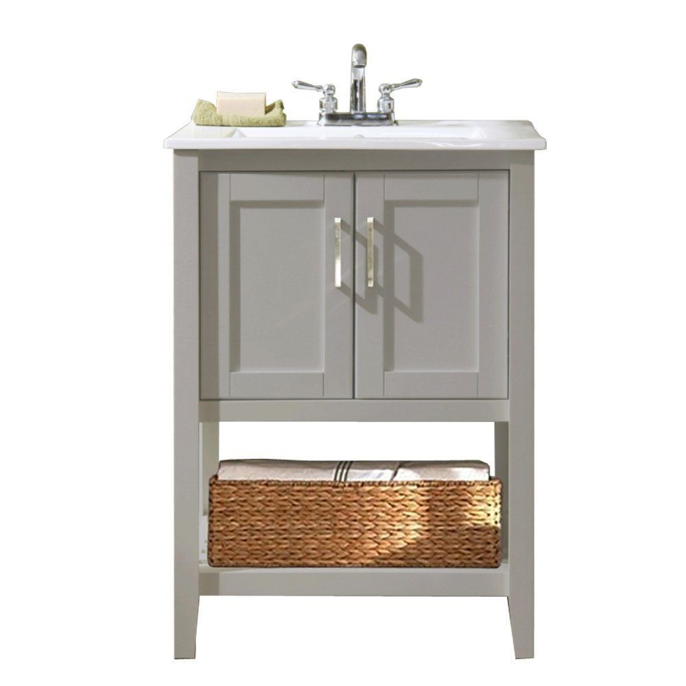 Gray small bathroom vanity with ceramic sink