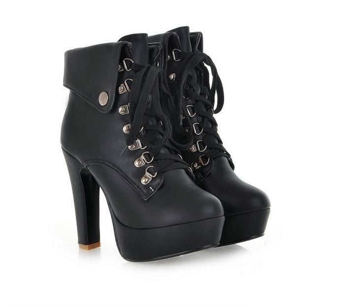 Fashion High Heeled Lace Up Women Ankle Boots