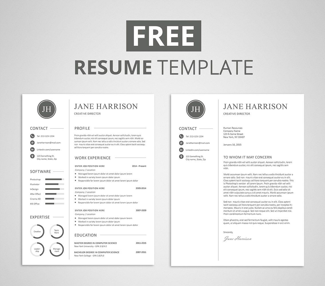 Free Modern Resume Template That Comes With Matching Cover Letter Template.  Cover Resume