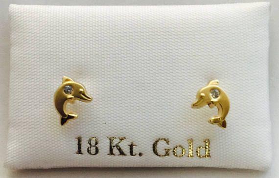 320f42365e0c Pendientes o aretes oro 18k para niña y chica en forma delfin en ...