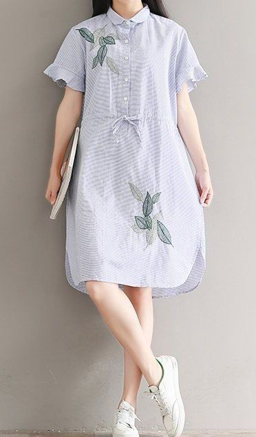 Women loose fitting over plus size stripes leaves dress draw string ...