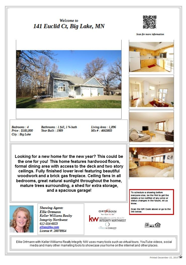 141 Euclid Ct Big Lake MN 55309. This home is conveniently located near shopping, golf course, parks and lakes. ISD 727 Big Lake schools.