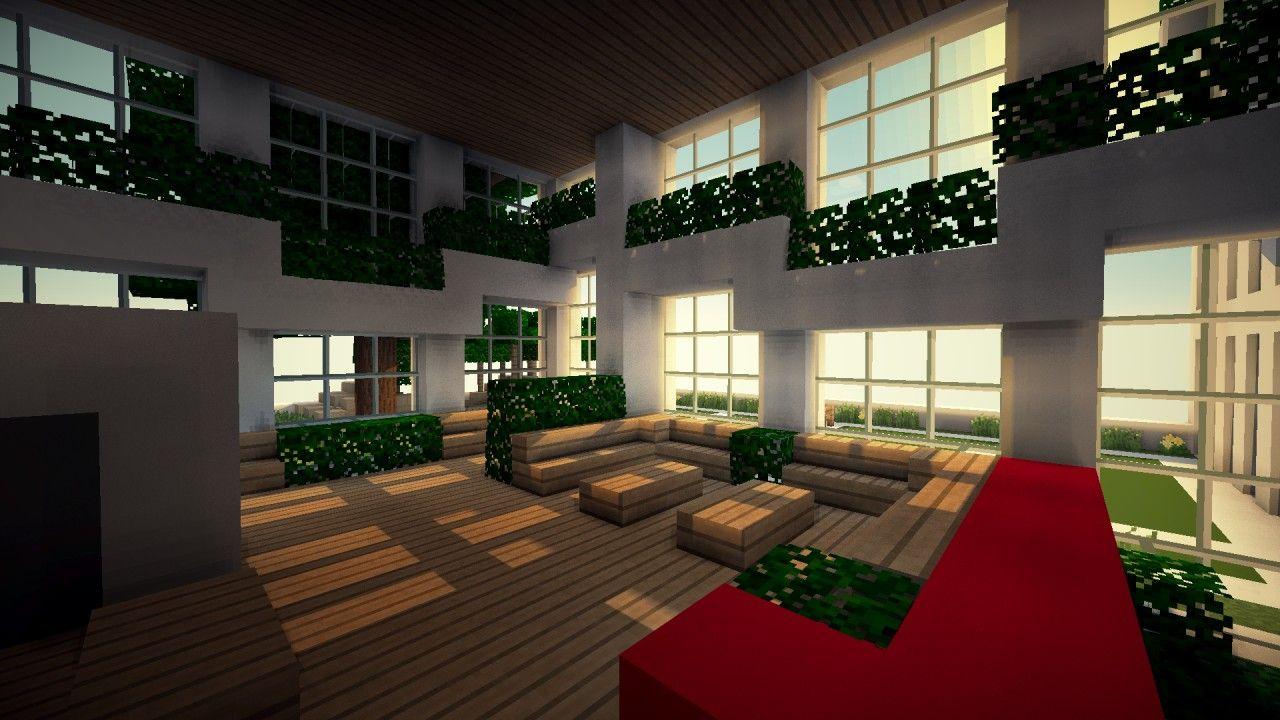 Minecraft Hotel Lobby 2 Minecraft Interior Design Minecraft House Tutorials Minecraft Houses Blueprints