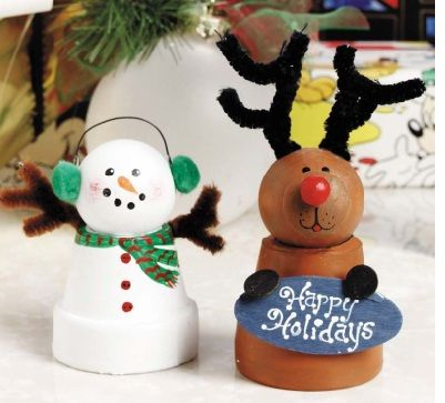 Photo of Clay Pot Snowman and Reindeer