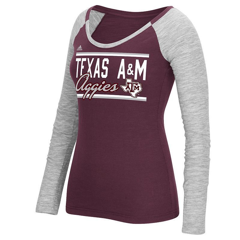Women's Adidas Texas A&M Aggies Double Color Tee, Size: Medium, Red
