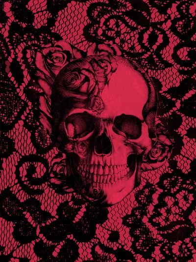 Gothic Lace Skull in red and black. Art Print by Kristy Patterson Design