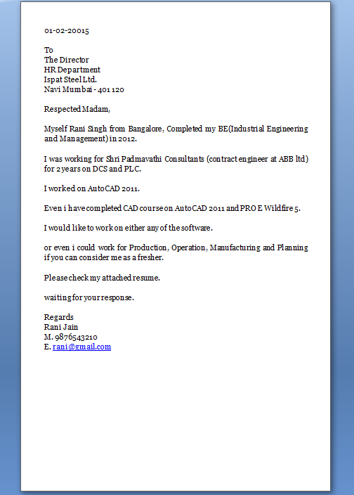 Cover Letter Sample Excellent Job Application Email Format Industrial Engineer BE