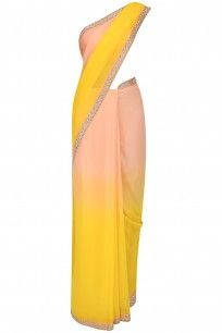 Peach and Yellow Shaded Saree with Peach Printed Blouse