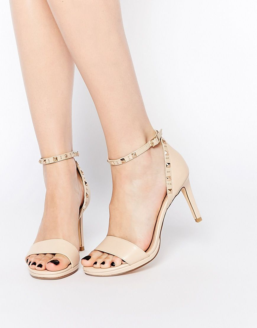 Buy Women Shoes / Dune Missie Nude Leather Two Part Studded Heeled Sandals