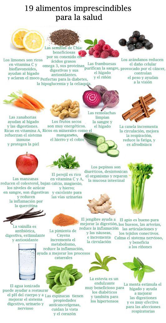 19 Alimentos Imprescindibles Para La Salud Infografia Frutas Y Verduras Beneficios Dieta Y Nutricion Beneficios De Alimentos