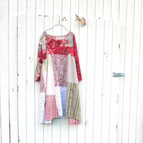 Upcycled Dress / Romantic Upcycled Clothing / Patchwork