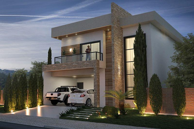 Sobrado com fachada moderna facade pinterest for Casas modernas planos y fachadas