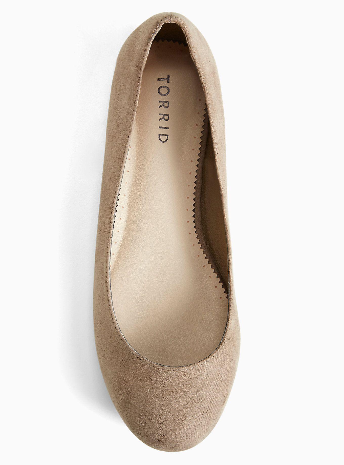 e90733d94b37 Plus Size Faux Suede Round Toe Ballet Flats (Wide Width)