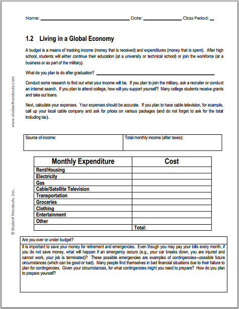 Monthly Budget Worksheet For Economics Student Handouts Budgeting Worksheets Economics Middle School Economics