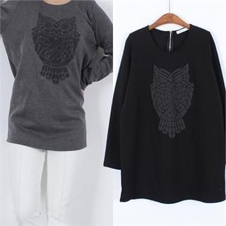 Buy 'Ho Shop – Owl Print Brushed Fleece-Lined T-Shirt' with Free International Shipping at YesStyle.com. Browse and shop for thousands of Asian fashion items from South Korea and more!