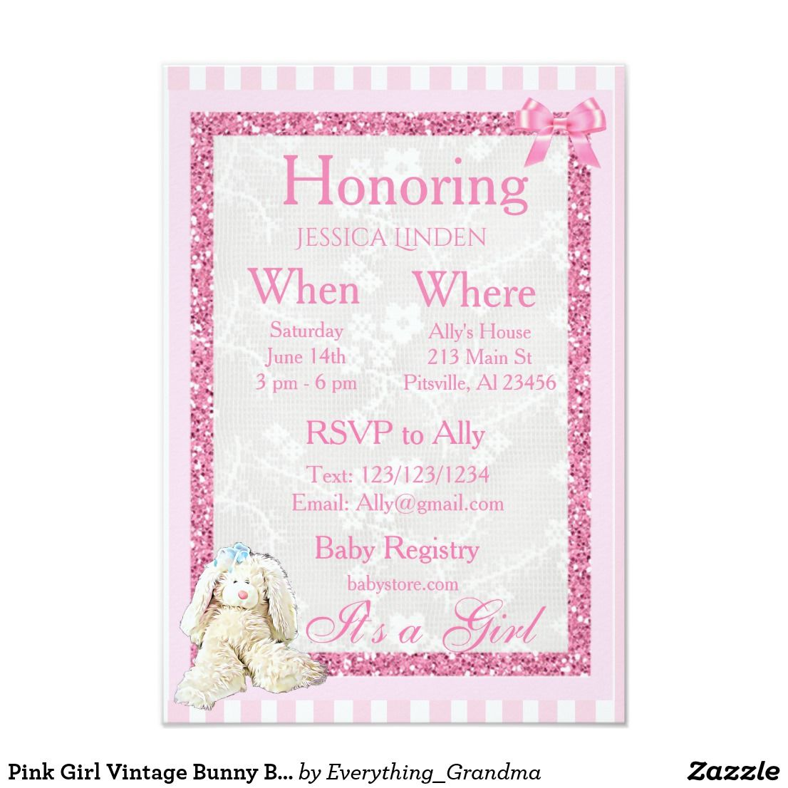 Pink Girl Vintage Bunny Baby Shower Invitation | Baby Girl Shower ...