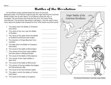 image relating to American Revolution Printable Worksheets named No cost Battles of the American Revolution Worksheet social