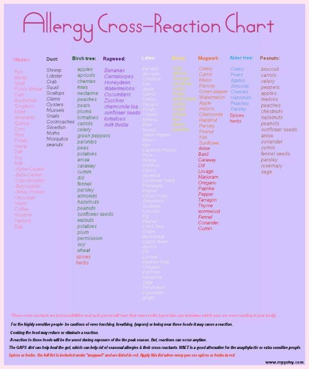 Allergy cross reaction chart | ><>H€@£th<>< | Allergy