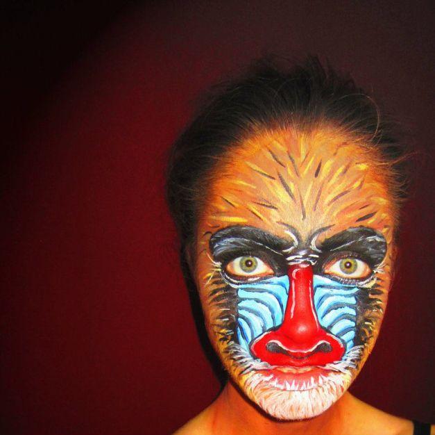 Baboon Makeup http://chrystalr.wordpress.com/tag/face-paint/