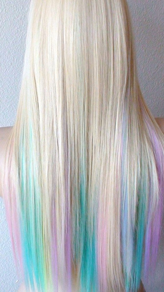 Blonde Pastel Wig Fairy Princess Wig Long Straight Hair Wig