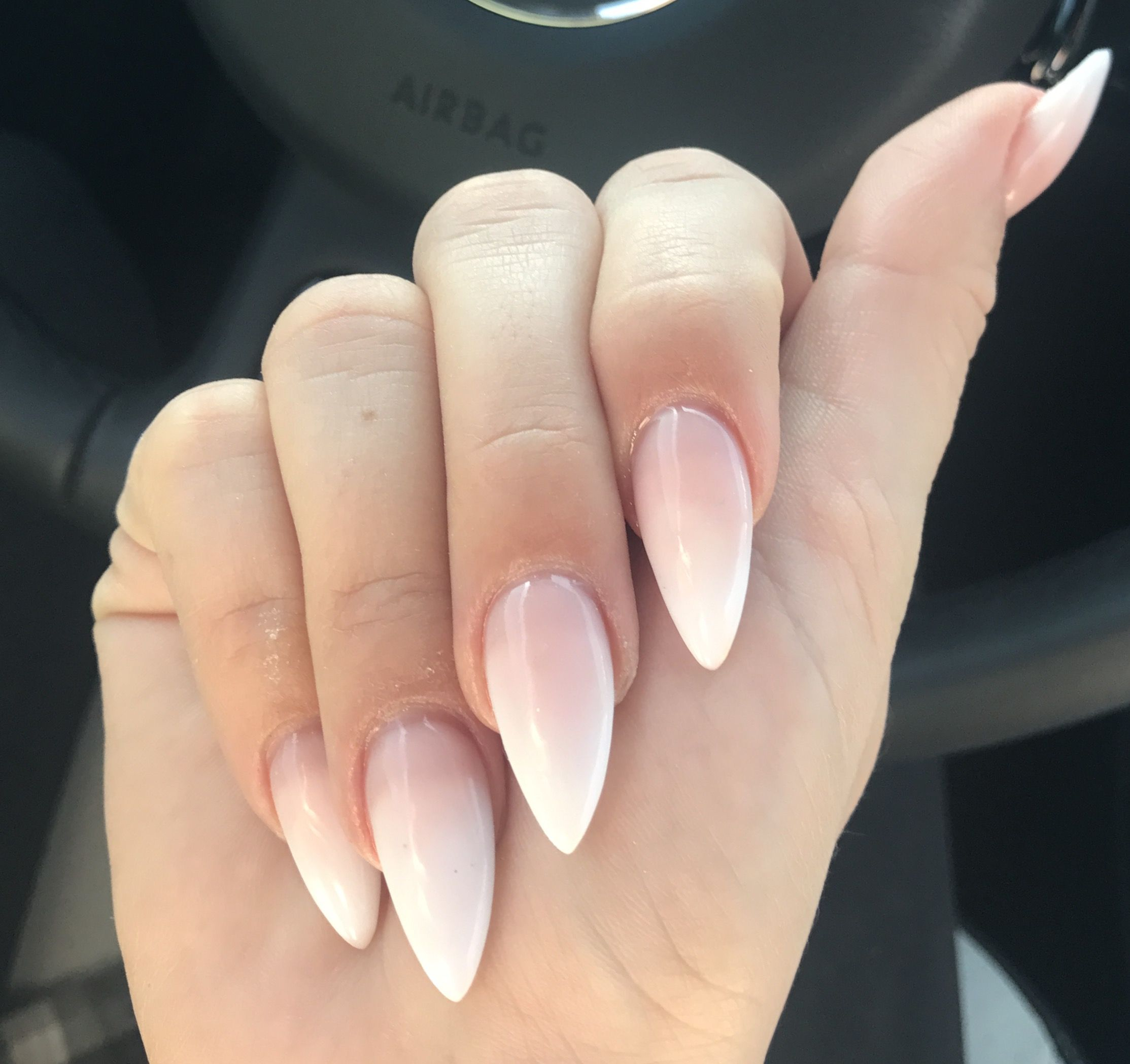 American Ombre Pink White Stiletto Nails Xqueen0fheartsx