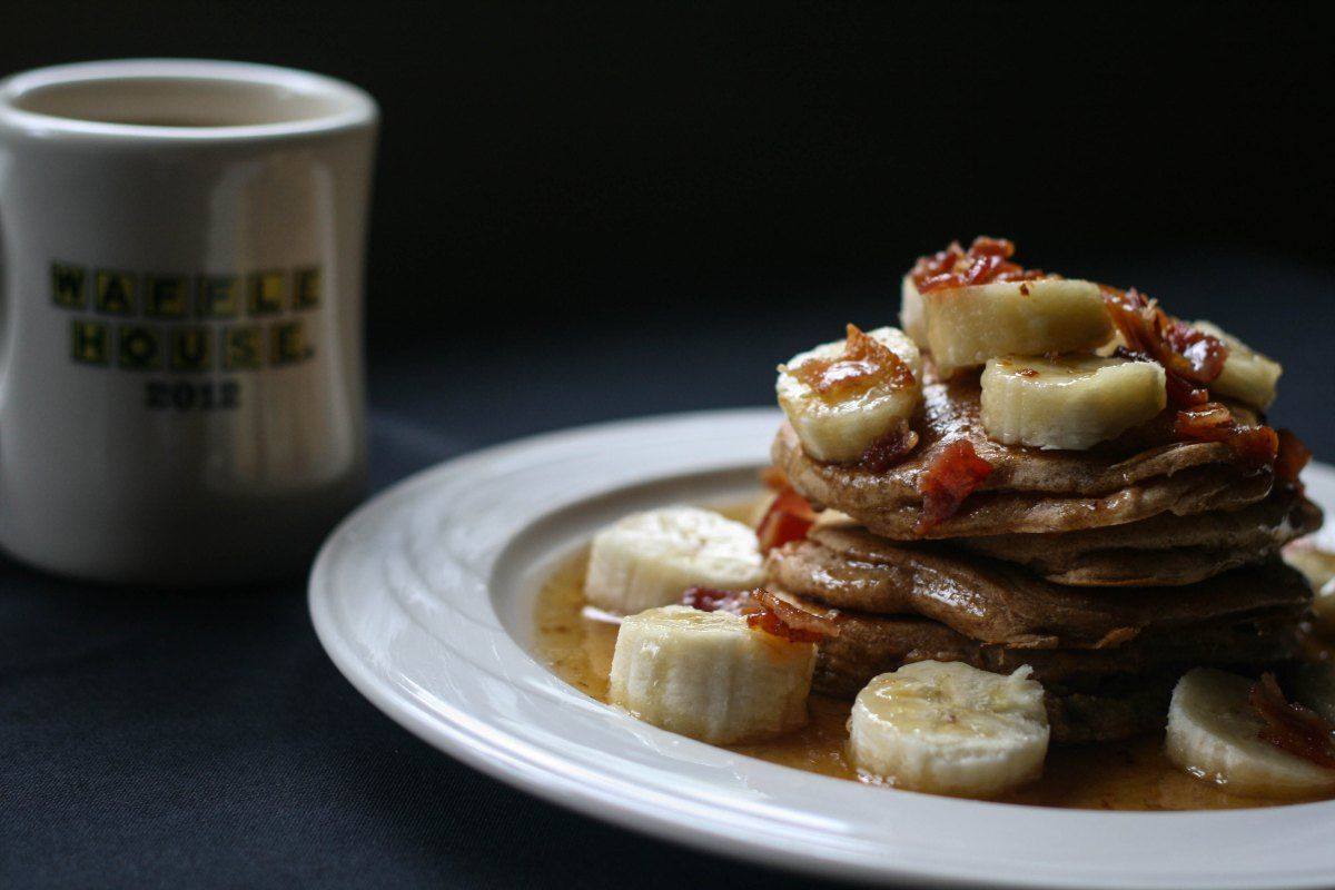 Gluten Free Banana Pancakes with Bacon Maple Syrup | The Savory Confection