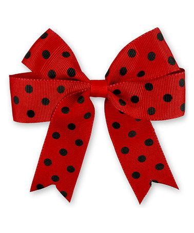 Red & Black Polka Dot Bow Clip
