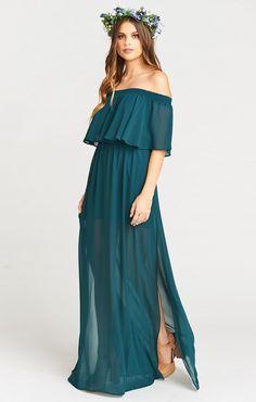 Hacienda Maxi Dress ~ Deep Jade Chiffon