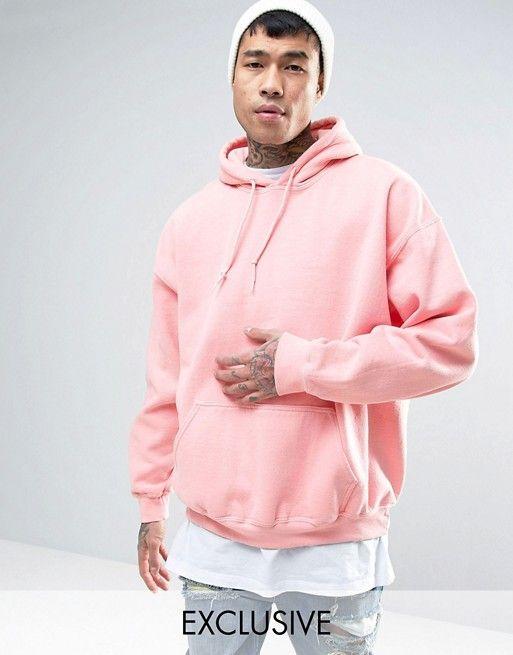 Reclaimed Vintage Inspired Oversized Hoodie In Pink Overdye Mens Sweatshirts Hoodie Hoodies Hooded Sweatshirt Men