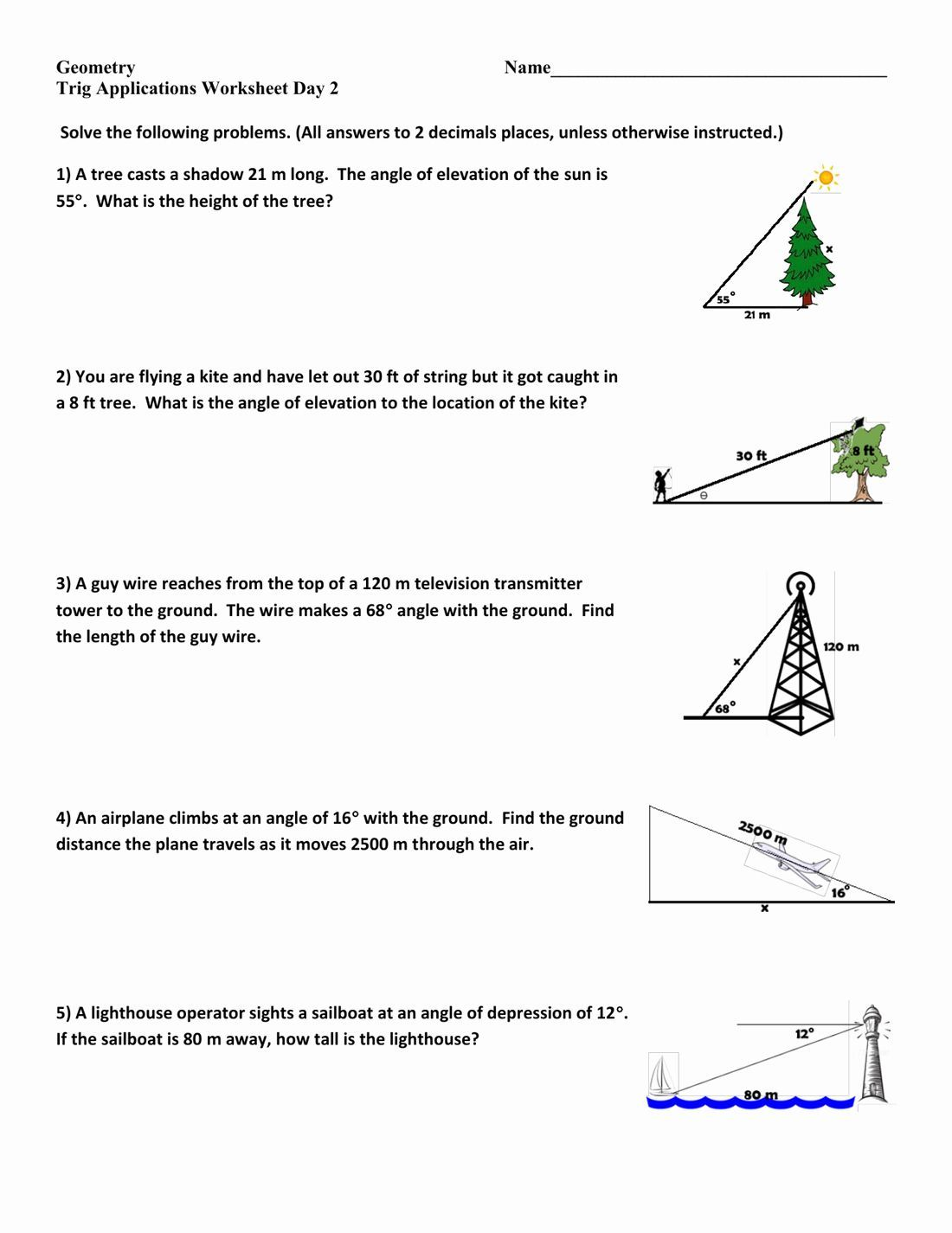 Right Triangle Trigonometry Worksheet Answers New Trigonometry Triangles Mechanical Electrical W Trigonometry Worksheets Word Problem Worksheets Right Triangle