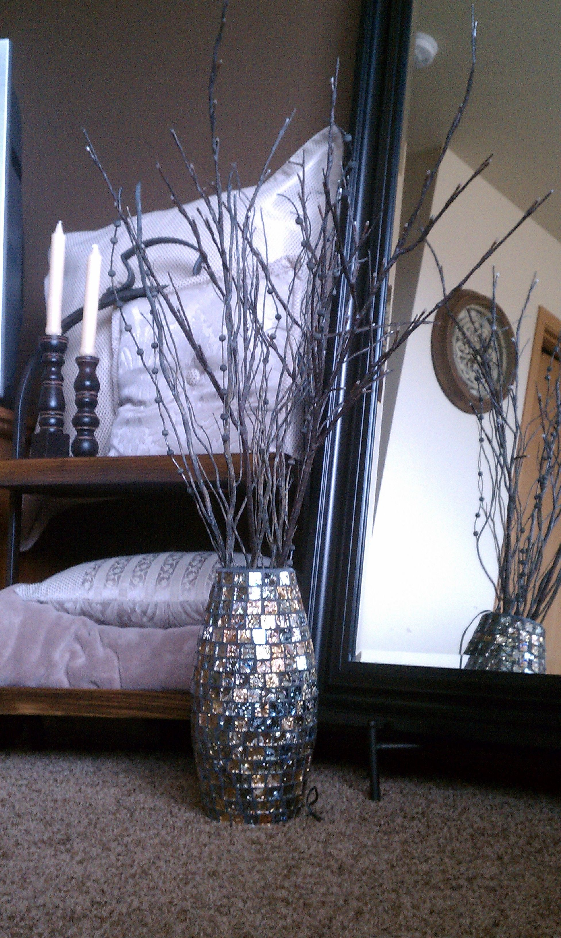 Decorative Vase With Lighted Branches And Twigs Decor
